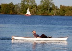 totally laid back peddeling - Tim demonstrates the recumbent canoe